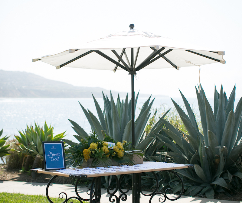 Entrance Flowers for #cabanaboss event by Flower Duet at Cielo Point, Terranea Resort.